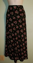 NWOT LOVE SADIE SIZE LARGE BLACK amp; FLORAL LONG MAXI SKIRT $9.99