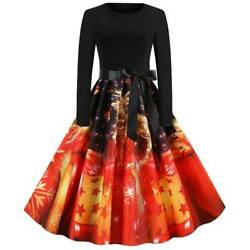 Womens Winter A Line Swing Dress Christmas Long Sleeve Party Evening Dresses US $23.99