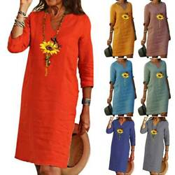 Women 3 4 Sleeve V Neck Butterfly Dress Ladies Holiday Casual Dresses SunDress $22.49