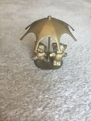 Vintage Brass Teddy Bears Under Umbrella Made In India 4.5 x 5 in. $7.99