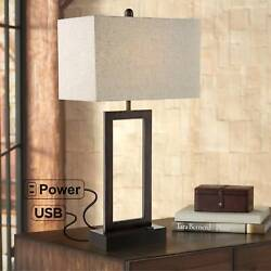 Modern Table Lamp with USB Outlet Bronze Rectangular Shade for Bedroom Office $64.99