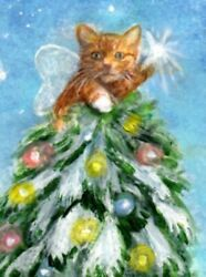 BCB Orange Tabby Cat Star Christmas Tree Print of Painting ACEO 2.5 x 3.5 Inches $11.99