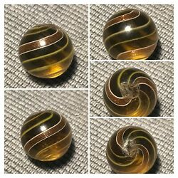 Marbles Beautiful Mint .69quot; Yellow Glass German Handmade Lutz Marble $195.00