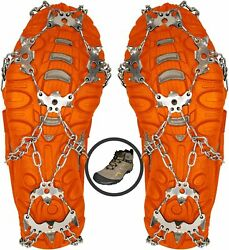 New Crampons Ice Cleats For Shoes Boots Ice Snow Winter Spikes Size Large $17.88