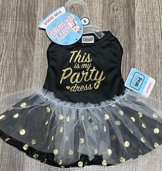 SIMPLY WAG BLACK amp; GOLD quot;THIS IS MY PARTY DRESSquot; HOLIDAY DRESS Dog SMALL $13.00