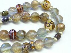 Vintage Artisan Deco Murano Italy Rutilated Gold Swirl Glass Bead Necklace 42quot; $65.00