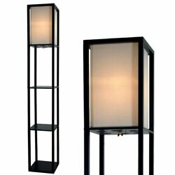 Floor Lamp with Shelves 63quot; Tall Wood with White Linen Shade Black $44.95