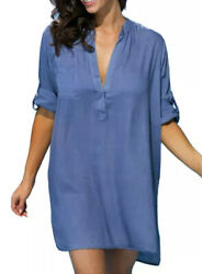 Swimsuits for all Swim Cover Up Sz 18 20 Blue Tunic Style Roll Up Sleeves V Neck $26.99