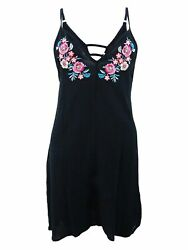 Miken Juniors#x27; Embroidered Cover Up Dress XS Black $20.02