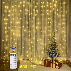 600LED 10ft Curtain Fairy Hanging String Lights LED Home Wedding Party 8 Modes@C