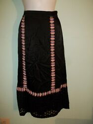 NEW WITH TAG ANNA SUI BOHEMIAN LONG SKIRT BLACK WITH LACE BOTTOM SZ LARGE $19.99