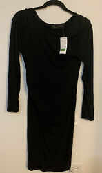 Kardashian Kollection Womens Solid Black Ruched Cocktail Evening Sheath Dress M $40.00