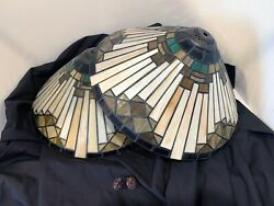 PAIR of Leaded Stained Glass Lamp Shades Arts amp; Crafts Mission Tiffany Style 14quot; $95.00