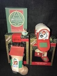 2 Mouse Hallmark Ornaments Chris Mouse Tales Chris Mouse Mail 1 Mini Hold Tight $25.00