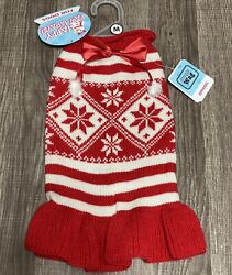 SIMPLY WAG RED amp; WHITE KNIT Christmas SWEATER DRESS Dog MEDIUM $14.00
