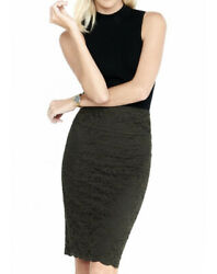 NWT EXPRESS Women's Olive Green Lace Pencil Skirt Size 8 $39.99