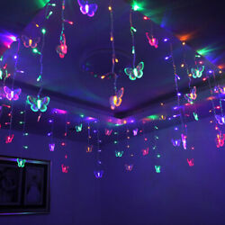 Butterfly 96 LED Fairy String Curtain Lights Christmas Party Wedding Decor Lamp $11.99