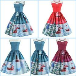 Party Christmas Dress Evening Winter Womens Cocktail Swing Sleeveless Dresses $14.06