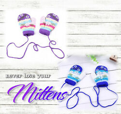 Winter Toddler Baby Gloves Mittens Lanyard Coat String Boy Girl Pink Blue String $9.00