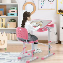 Study Desk And Chair Set Height Adjustable School Childs Kids Student Home Table $99.89