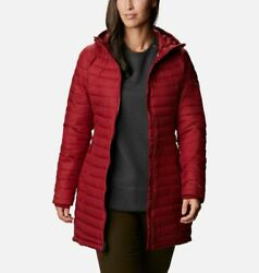 Columbia Women#x27;s White Out II Omni Heat Insulated Mid Hooded Jacket RED Plus $119.00