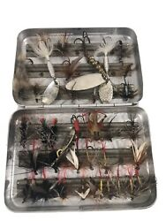 Lot Vintage Perrine Aluminum Fly Box Case and FLIES # 39 $77.77
