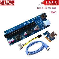 6PC Pci e Riser Pcie Extender 1X to 16X Cable 6Pin DC DC Graphics Card Extension $34.65