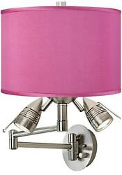 Modern Swing Arm Wall Lamp LED Nickel Plug In Fixture Pink Faux Silk for Bedroom $149.99