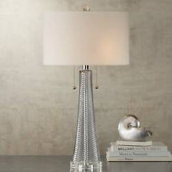 Modern Table Lamp Gray Swirl Fluted Glass for Living Room Bedroom Nightstand $89.95