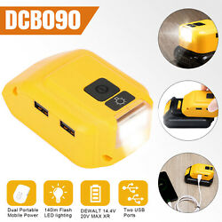 Dual USB Power Source Li ion Battery Charger Adapter DCB090 for Dewalt with LED $19.98