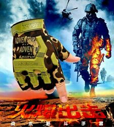 Fingerless Tactical Gloves Camouflage Military Mittens For Fitness Male Antiskid $3.20