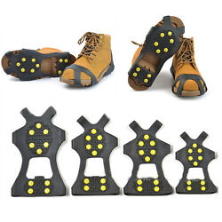 Snow Ice Shoe Cover Grippers Spikes Grips Climbing Anti Slip Crampons 10 Teeth M $10.99