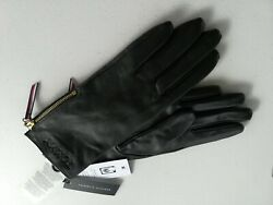 NWT TOMMY HILFIGER Women#x27;s Leather Gloves Logo Touch Screen Size S M $59.00