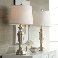 Modern Table Lamps Set of 2 Brushed Steel for Living Room Bedroom Bedside Office $69.99