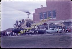 Mobil Gas Helicopter 35mm Slide American Flag Cars Magnolia Galveston Texas $45.59