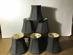 Set Of 6 Black Mini Chandelier Clip Shades Bell Shaped Silk Dupioni Lined $36.00