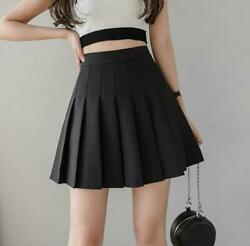 Fashion Pleated Mini Skirts For Women Solid Skater School Female A Line $17.99