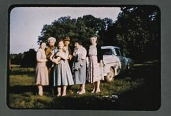 1950s Older Women Beagle Dog Man Car Field Kodachrome 35mm Slide Dresses $6.99