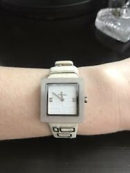 Womens Fossil Watch Square White Leather Strap $12.99