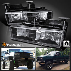 For 1988 1998 Chevy GMC C10 C K Truck Black Headlights Lamps Replacement Pair $48.38