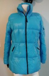 13 NYC Women#x27;s Duck Down Puffer Jacket Size Large Blue Quilted Outdoor Bin 3 $34.97