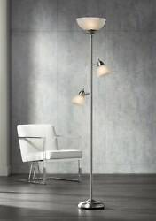 Modern Torchiere Floor Lamp Brushed Steel Frosted Glass Shades For Living Room $99.99
