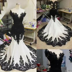 Gothic Wedding Dresses Black And White Off Shoulder Mermaid Bridal Gown Applique