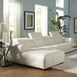 Coaster Darby Contemporary White Sectional Sofa with Wide Chaise and Adjustable $942.60