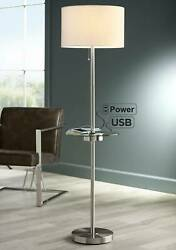 Modern Floor Lamp With Table Glass Brushed Nickel USB Port Outlet For Living $129.95