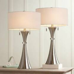 Modern Table Lamps Set of 2 Concave Column Hourglass Metal Living Room Bedroom $119.95