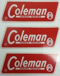 THREE 3 NEW COLEMAN REPLACEMENT STICKER LABEL DECAL LANTERN STOVE 1965 1970 $4.77