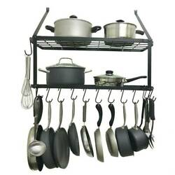 Pot And Pan Rack Hook Holder Hanging Kitchen Organizer Wall Mount Rail System US $38.89