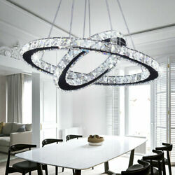 Modern LED Crystal Chandeliers Two Rings Pendant Lamp Round Ceiling Light $91.99