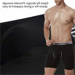 AIRIKE Boxer Briefs Men Pack Long Leg Soft Bamboo Black Black Size XX Large cF $14.28